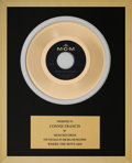 Music Memorabilia:Awards, A Connie Francis In-House 'MGM Records' Award for 'Where The BoysAre.'...