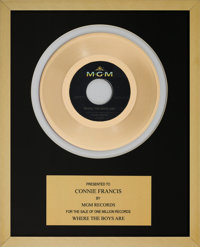 A Connie Francis In-House 'MGM Records' Award for 'Where The Boys Are.'
