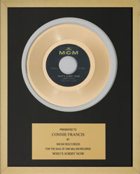 A Connie Francis In-House 'MGM Records' Award for 'Who's Sorry Now.'