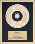 Music Memorabilia:Awards, A Connie Francis In-House 'MGM Records' Award for 'Don't Break TheHeart That Loves You.'...