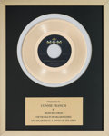 Music Memorabilia:Awards, A Connie Francis In-House 'MGM Records' Award for 'My Heart Has aMind of Its Own.'...