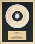 Music Memorabilia:Awards, A Connie Francis In-House 'MGM Records' Award for 'Lipstick on YourCollar.'...