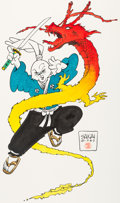 Original Comic Art:Illustrations, Stan Sakai - Usagi Yojimbo and Dragon Illustration Original Art(1988)....