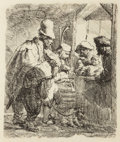 Fine Art - Work on Paper:Print, After Rembrandt. The Strolling Musicians. Etching. 5-1/2 x4-1/2 inches (14.0 x 11.4 cm) (image). ...