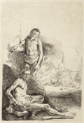Fine Art - Work on Paper:Print, After Rembrandt van Rijn . Nude Man Seated and Another Standing,with a Woman and Baby in the Background. Etching. 8-1/4...