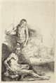 After Rembrandt van Rijn Nude Man Seated and Another Standing, with a Woman and Baby in the Background Etching 8-1/4