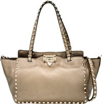 "Valentino Metallic Pewter Leather Rockstud Tote Bag Excellent to Pristine Condition 10"" Width x 9"