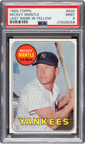 Baseball Cards:Singles (1960-1969), 1969 Topps Mickey Mantle (Yellow) #500 PSA Mint 9....