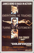 "Movie Posters:James Bond, Goldfinger (United Artists, 1964). One Sheet (27"" X 41.5"") GlossyStyle. James Bond.. ..."