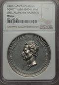 U.S. Presidents & Statesmen, 1840 MS William Henry Harrison Campaign Medal, DeWitt-WHH-1840-4,MS62 NGC. White metal, 43 mm....