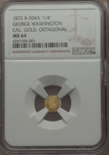 "California Gold Charms, 1872 MS George Washington California Gold Charm, Octagonal ""1/4"" Baker-504A, Musante GW-819, MS64 NGC. Gold, 9 mm, plain ed..."