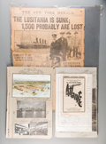 Decorative Arts, Continental:Other , A German Scrapbook on the Titanic Disaster with AssociatedSteamship Clippings and Lusitania Newspaper Cover, early 20thcen... (Total: 2 Items)