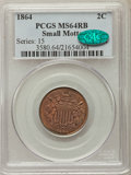 1864 2C Small Motto MS64 Red and Brown PCGS. CAC