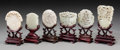 Asian:Chinese, Six Chinese Carved Jade Pendants on Stands. 2-3/4 inches high (7.0cm) (tallest, jade). 4-1/2 inches high (11.4 cm) (tallest...(Total: 12 Items)