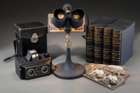 An Altiscop Stereoscope Camera, Extensive Keystone Stereoscope Library, and Viewer, c. 1930 12 h x 7 w x 7 d inche