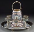 Silver Holloware, Continental:Holloware, An Eight-Piece Russian Silver and Enamel Punch or Drinking Set.Marks: (left-facing Kokoshnik, 84), (various). 12-1/2 inches...(Total: 8 Items)