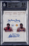 Basketball Cards:Singles (1980-Now), 2012-13 National Treasures Julius Erving/Magic Johnson Champions Signatures Combo BGS NM-MT+ 8.5 - only 25 exist....