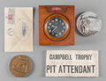 Decorative Arts, British:Other , A 1933 Malcolm Campbell-Signed Speed Trials Cachet, Sterling Silver1922 Saltburn Speed Trials Table Medal, Limton Watch Timer...(Total: 5 Items)