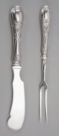 Silver Flatware, Continental:Flatware, Two Russian Silver Serving Pieces, circa 1908-1926. Marks: (rightfacing Kokoshnik-84), (Cryllic). 7-3/4 inches long (19.7 c...(Total: 2 Items)