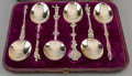 Silver Flatware, British:Flatware, Six Alexander Macrae Victorian Partial Gilt Sterling Silver FiguralDessert Spoons and Case, 1876. Marks: (lion passant), (l... (Total:6 Items)