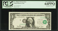 Error Notes:Shifted Third Printing, Misaligned Overprint Fr. 1908-H $1 1974 Federal Reserve Note. PCGS Very Choice New 64PPQ.. ...