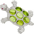 Estate Jewelry:Brooches - Pins, Diamond, Peridot, Ruby, White Gold Brooch, Assil. ...
