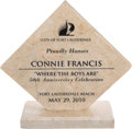 """Music Memorabilia:Awards, A Connie Francis Award Related to """"Where The Boys Are,"""" 2010...."""