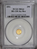 California Fractional Gold: , 1856 25C Liberty Round 25 Cents, BG-230, Low R.4, MS64 PCGS. Ex:Jay Roe Collection. Greenish-gold lustrous surfaces are vi...