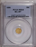 California Fractional Gold: , 1856 50C Liberty Octagonal 50 Cents, BG-307, High R.5, MS64 PCGS. Acrisply struck and satiny example of this scarce and aw...