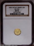 California Fractional Gold: , 1853 $1 Liberty Octagonal 1 Dollar, BG-530, R.2, MS62 NGC. A boldand bright straw-gold example of this popular Period One ...