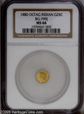 California Fractional Gold: , 1880 25C Indian Octagonal 25 Cents, BG-799J, R.3, MS66 NGC. A wellstruck greenish-gold premium Gem that does not have the ...