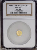California Fractional Gold: , 1880 25C Indian Octagonal 25 Cents, BG-799X, R.3, MS64 NGC. A wellstruck and nearly mark-free example. Much nicer than ave...