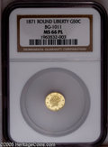 California Fractional Gold: , 1871 50C Liberty Round 50 Cents, BG-1011, R.2, MS66 Prooflike NGC.A bright and prominently reflective premium Gem. Essenti...