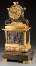 Timepieces:Clocks, A French Empire-Style Gilt and Patinated Bronze Mantel Clock, third quarter 19th century. 24-3/4 h x 12-1/8 w x 7-7/8 d inch...