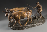 After Edouard Drouot (French) Plowing Bronze with brown patina 11 inches (27.9 cm) high Inscri