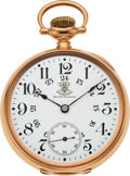 Timepieces:Pocket (post 1900), Ball 14k Gold Brotherhood of Railroad Trainmen Official Standard,circa 1905. ...