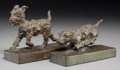 Bronze:American, A Pair of Edith B. Parsons Bronze Terrier Bookends. Marks: E.B.PARSONS, (copyright), GORHAM CO. 5-3/4 h x 7-3/4 w x...(Total: 2 Items)