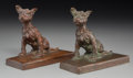 Bronze:American, A Pair of Edith B. Parsons Bronze Dog Bookends. Marks: E.B.Parsons, (copyright), Kunst Foundry NY. 5-5/8 h x 6-3/4... (Total: 2 Items)