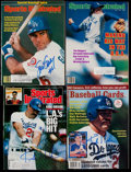 Autographs:Others, Los Angeles Dodgers Signed Magazine Lot of 4 - Gibson, Valenzuela& Garvey....