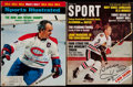 Hockey Collectibles:Publications, Henri Richard and Bobby Hull Signed Vintage Magazines Lot ofTwo....