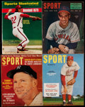 Autographs:Others, Baseball Pitching Greats Signed Vintage Magazine Quartet (4)....