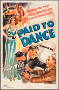 "Movie Posters:Crime, Paid to Dance (Columbia, 1937). One Sheet (27"" X 41""). Crime.. ..."