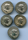 Ancients:Ancient Lots  , Ancients: ANCIENT LOTS. Roman Imperial. Gordian III. Lot of five(5) AR denarii. About VF-VF.... (Total: 5 Item)