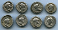 Ancients:Roman Imperial, Ancients: GROUP LOTS. Roman Imperial. Flavian Era. Lot of eight (8)AR denarii. About Fine-About VF.... (Total: 8 coins)