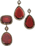 Estate Jewelry:Suites, Antique Garnet, Diamond, Silver-Topped Gold Jewelry Suite, 18thCentury . ... (Total: 3 Items)
