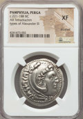 Ancients:Greek, Ancients: PAMPHYLIA. Perga. Ca. 221-188 BC. AR tetradrachm. NGC XF, brushed....