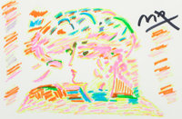 Peter Max (American, b. 1937) Group of Ladies Profiles (six works) Marker on paper 12 x 18 inches