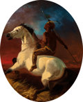 Fine Art - Painting, American:Antique  (Pre 1900), Attributed to Charles L. Fritz (American, 19th Century). Indianon Horseback. Oil on panel. 23-1/2 x 19-1/2 inches (59.7...