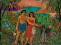 Fine Art - Painting, American:Modern  (1900 1949)  , Attributed to Eugene Francis Savage (American, 1883-1978).Island Way of Life Mural (three works), circa 1930s. Oil onc... (Total: 3 Items)