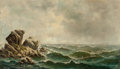 Fine Art - Painting, European, American School (20th Century). Crashing Waves. Oil on canvas. 30 x 50-1/4 inches (76.2 x 127.6 cm). Signed indistinctly...